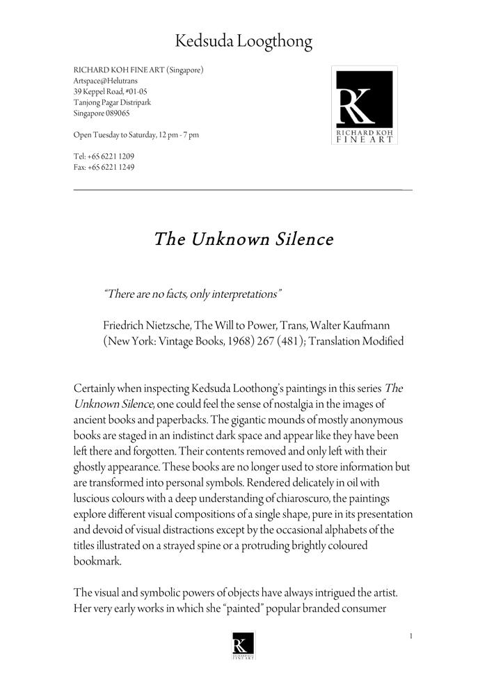 Kedsuda Loogthong – The Unknown Silence
