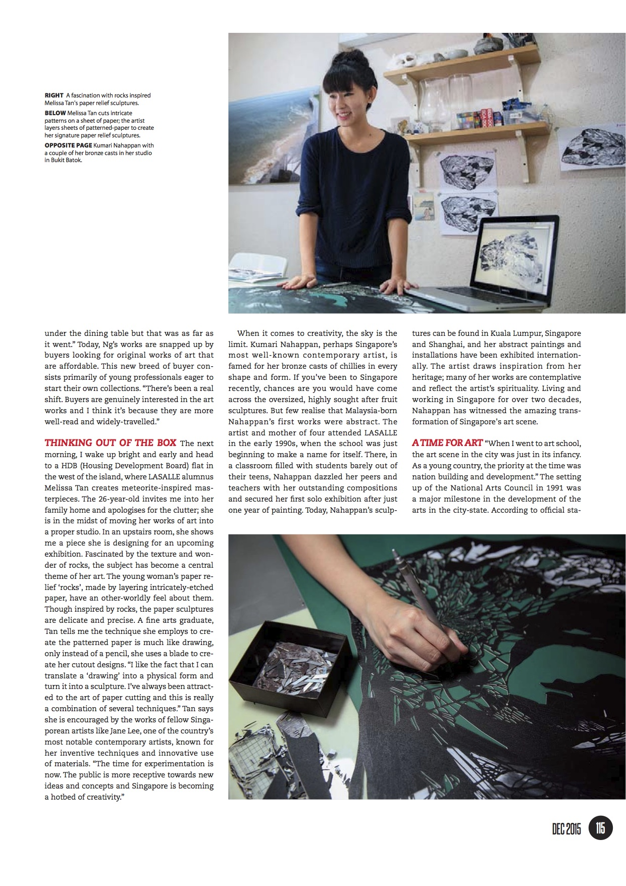 Melissa Tan featured in Art Ascension for Travel3sixty (Dec 2015) Air Asia In-flight Magazine