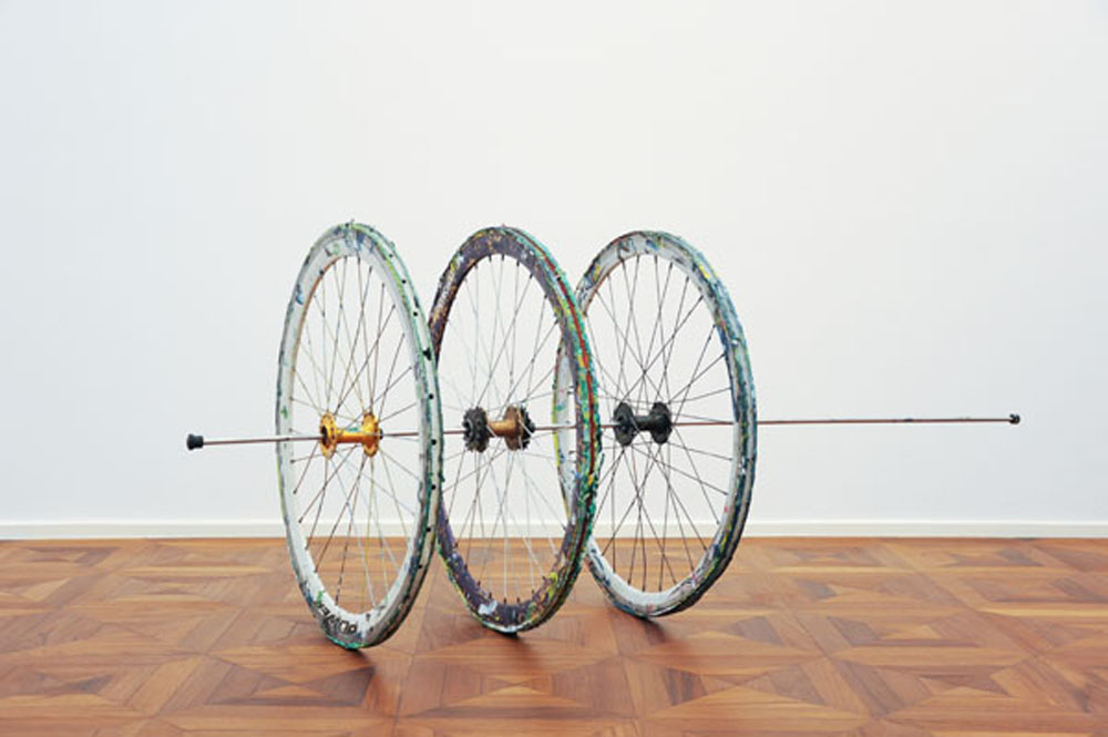 Three Bicycle Wheels