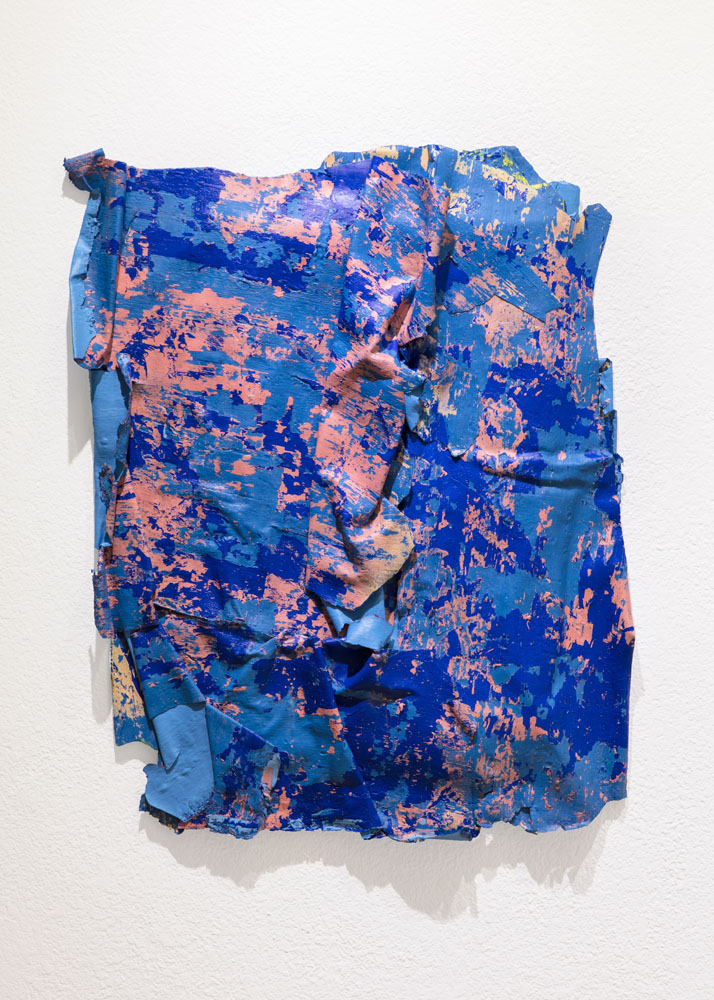 Traces and Residues: Peach and Blue on Blue #01