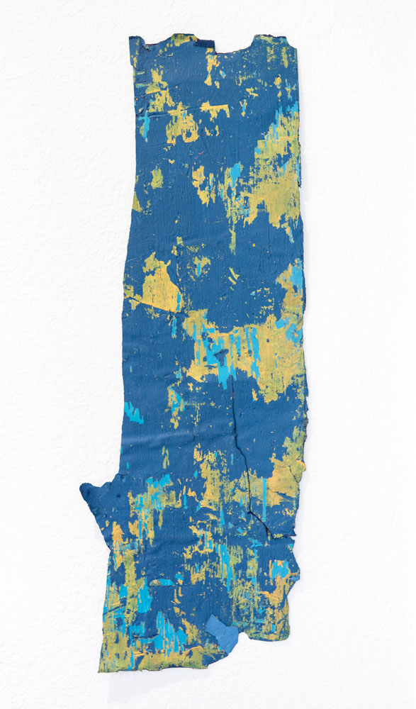 Traces and Residues: Turquoise and Yellow on Blue #01