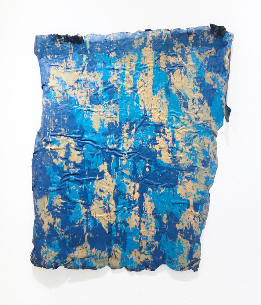 Traces and Residues: Turquoise and Yellow on Blue #03