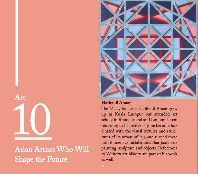 """10 Asian Artists who will Shape the Future"", Credit Suisse: Bulletin"