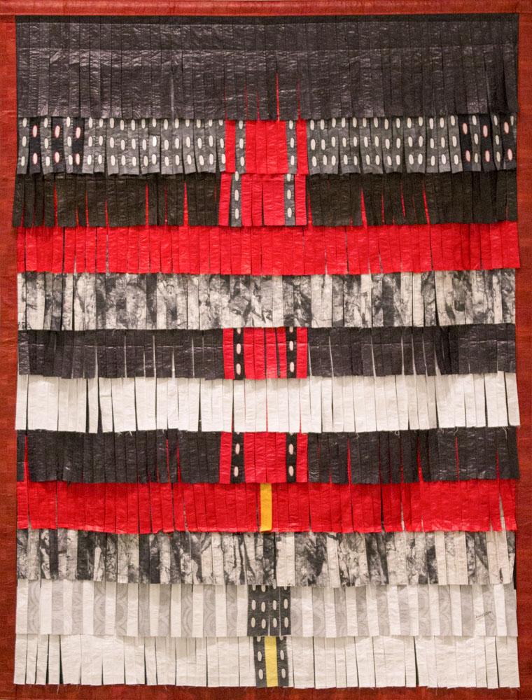 Composition noir, rouge, blanc et gris