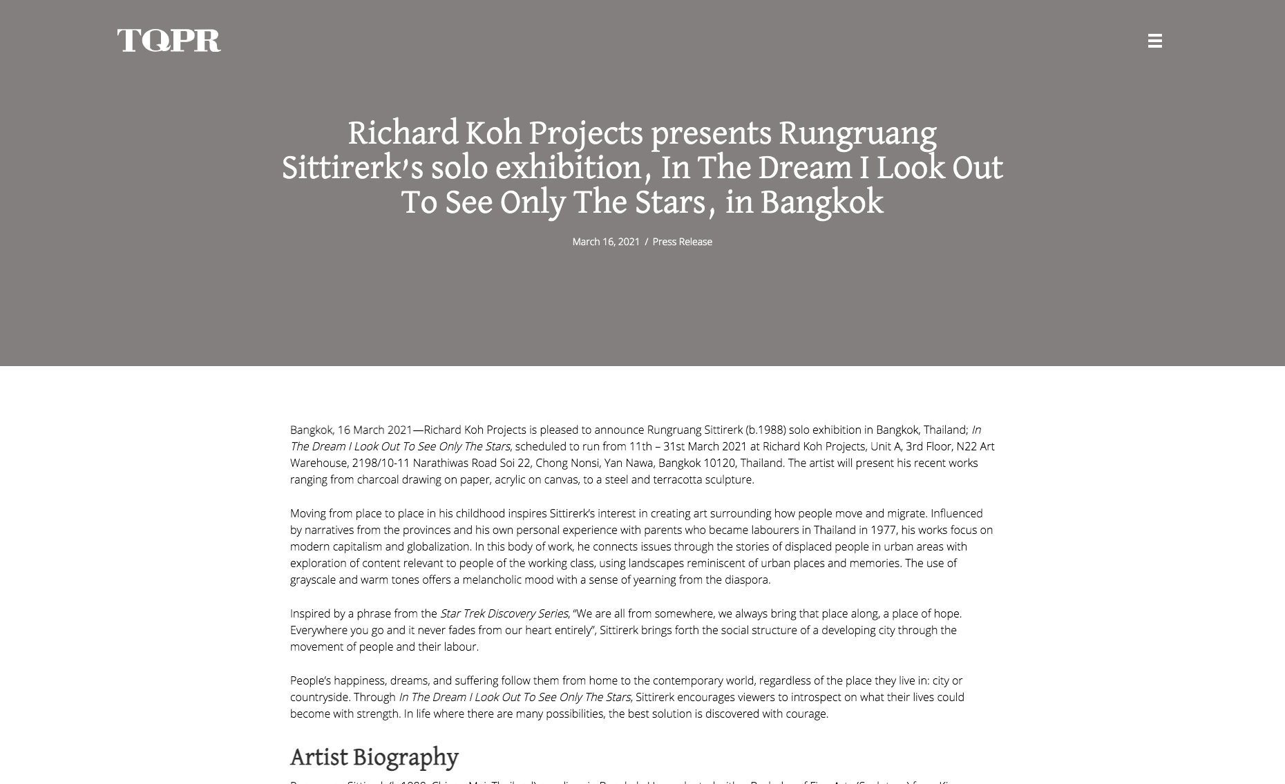 TQPR – Richard Koh Projects presents Rungruang Sittirerk's solo exhibition, In The Dream I Look Out To See Only The Stars, in Bangkok
