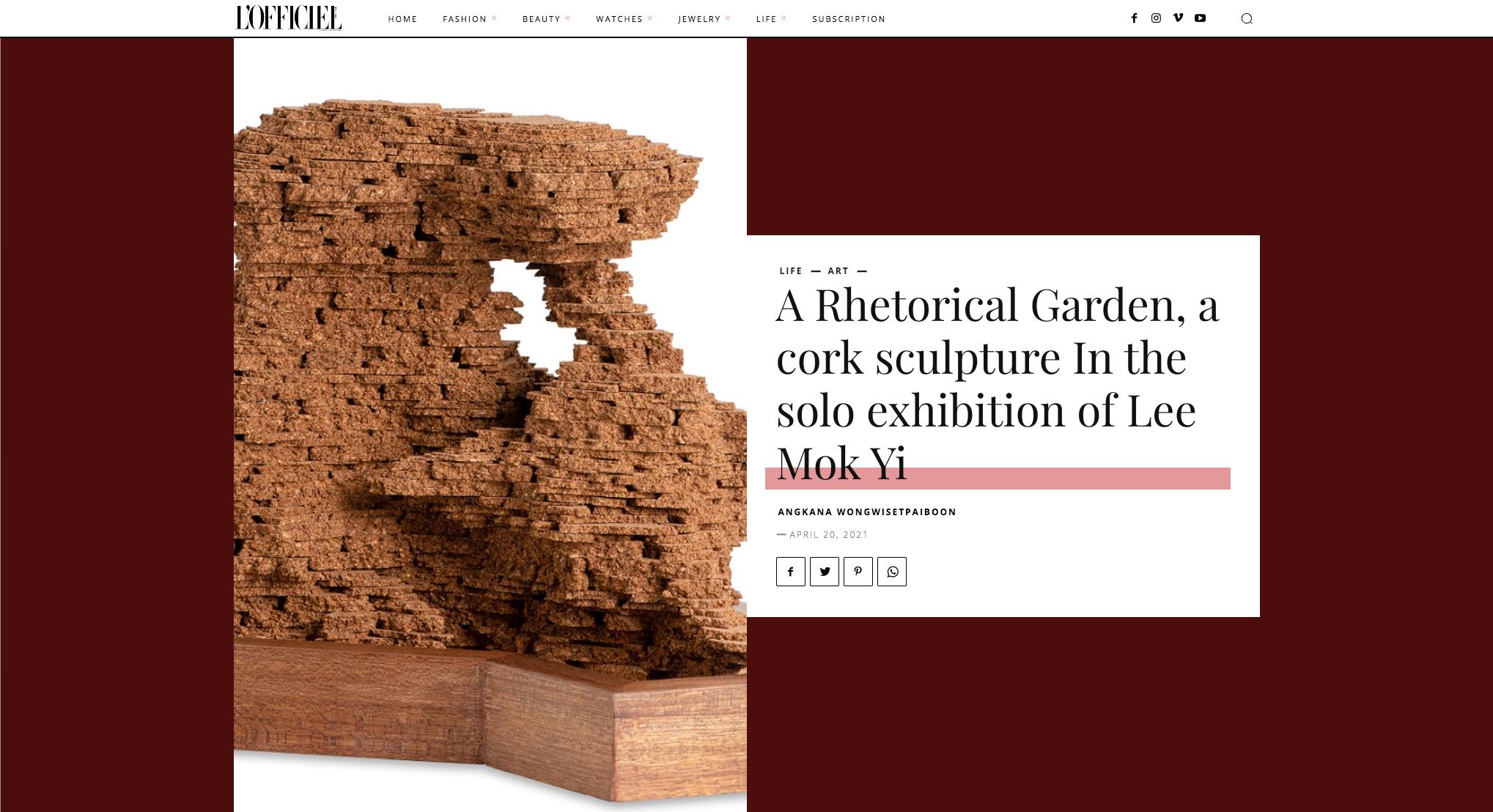 L'Officiel – A Rhetorical Garden, a cork sculpture In the solo exhibition of Lee Mok Yi