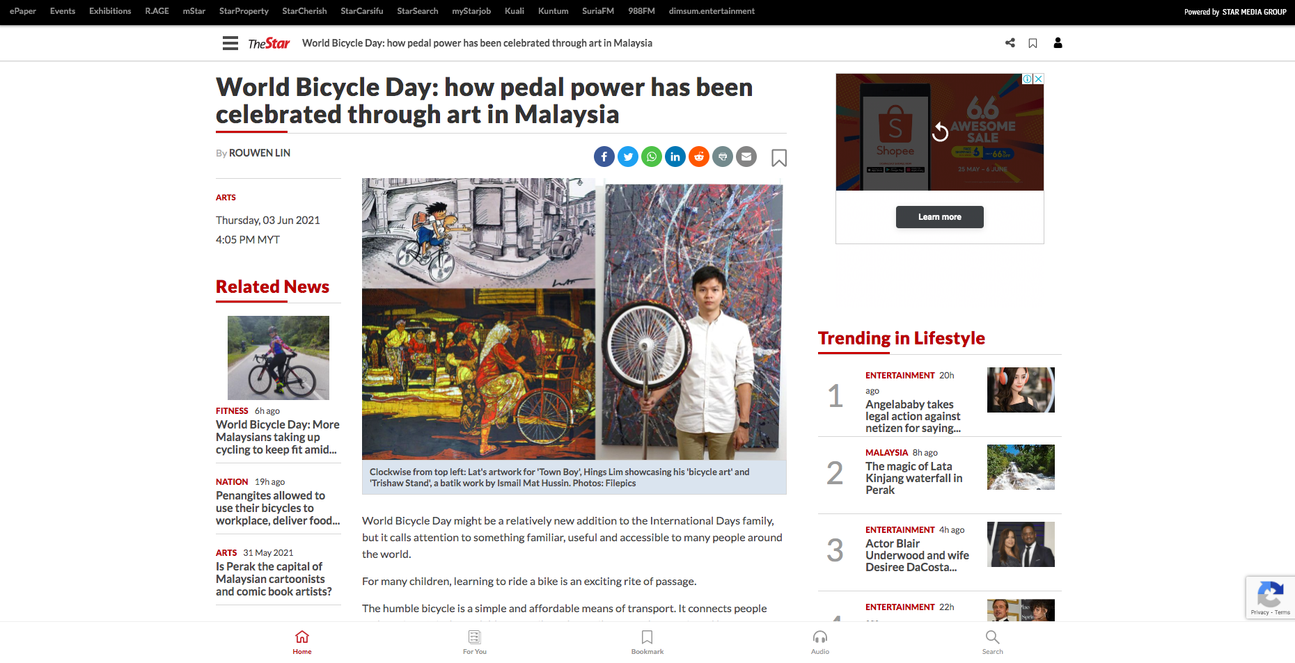The Star – World Bicycle Day: how pedal power has been celebrated through art in Malaysia