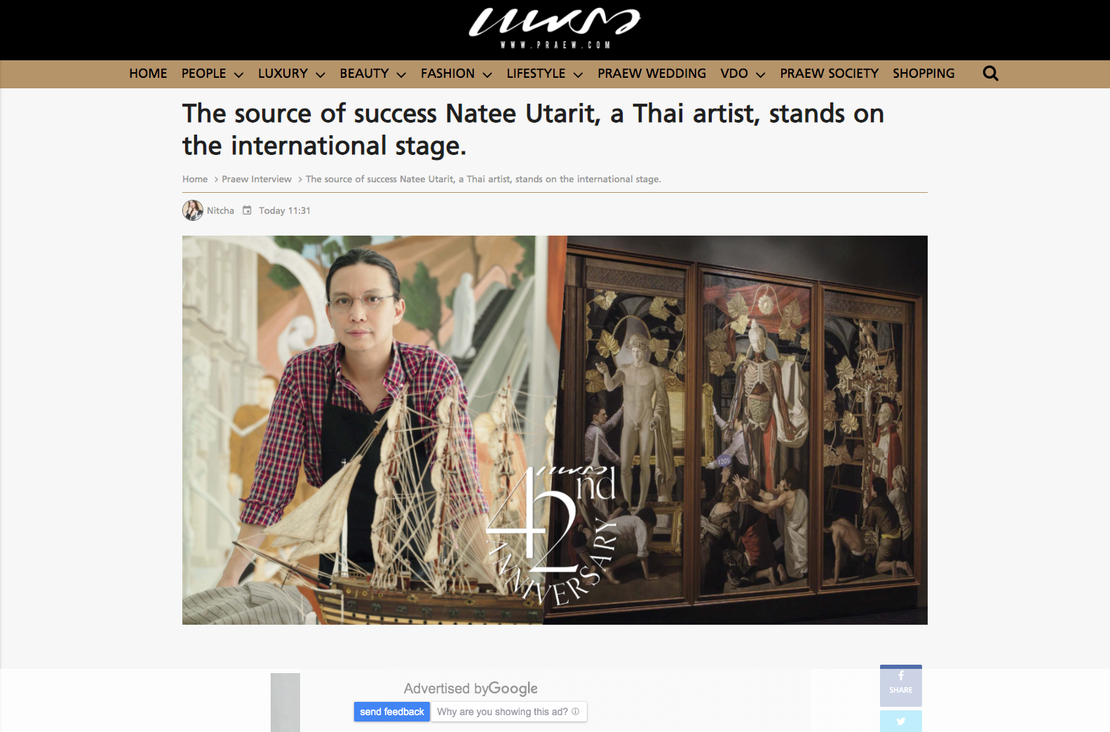 Praew – The source of success Natee Utarit, a Thai artist, stands on the international stage