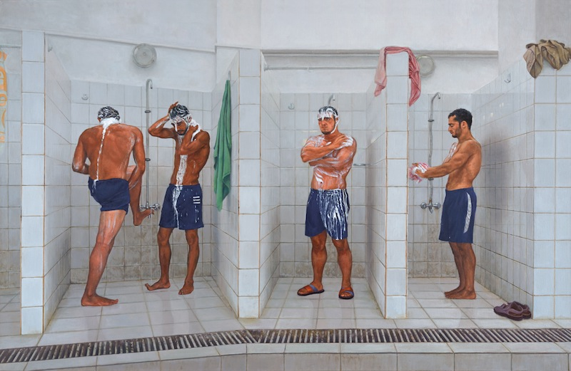 Four Wrestlers in the Showers