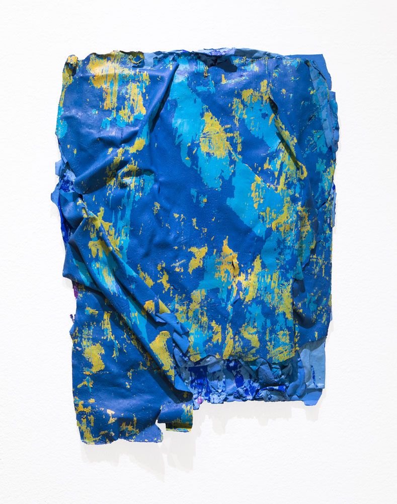 Traces and Residues: Turquoise and Yellow on Blue #02