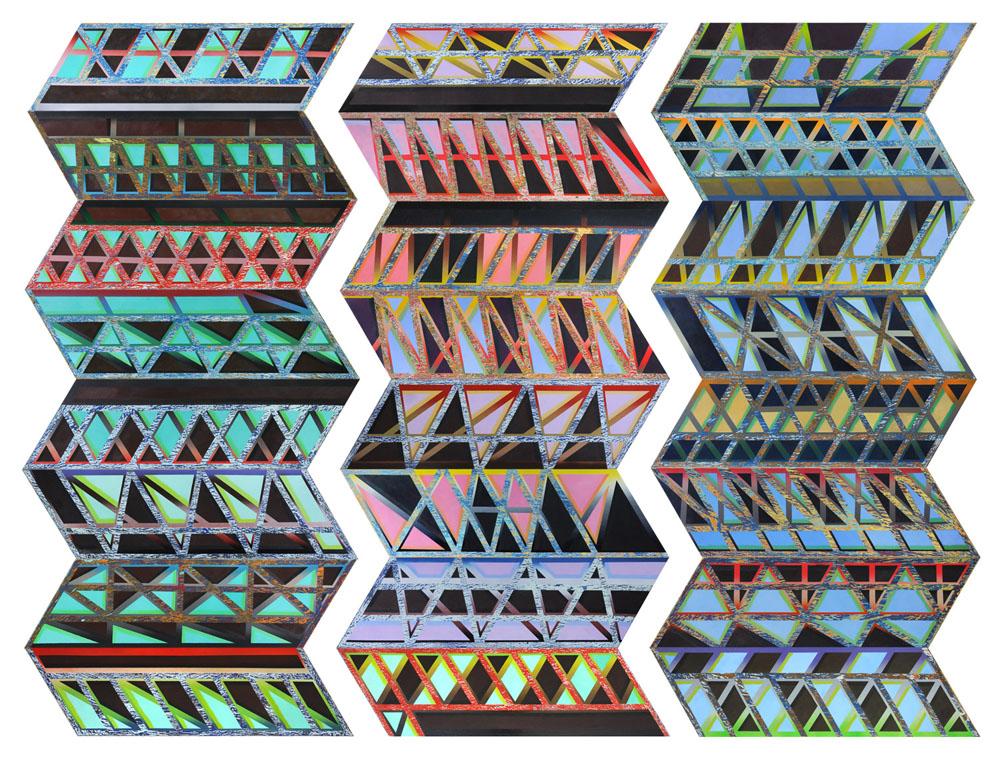 Haffendi Anuar2016Oil and enamel on board208 x 96 cm (each, 3 sets); 208 x 288 cm (total, 24 parts)