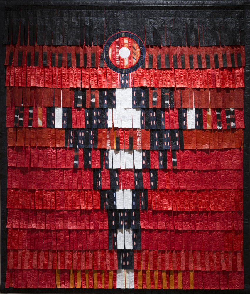 Personnage en noir - blanc (fond rouge)