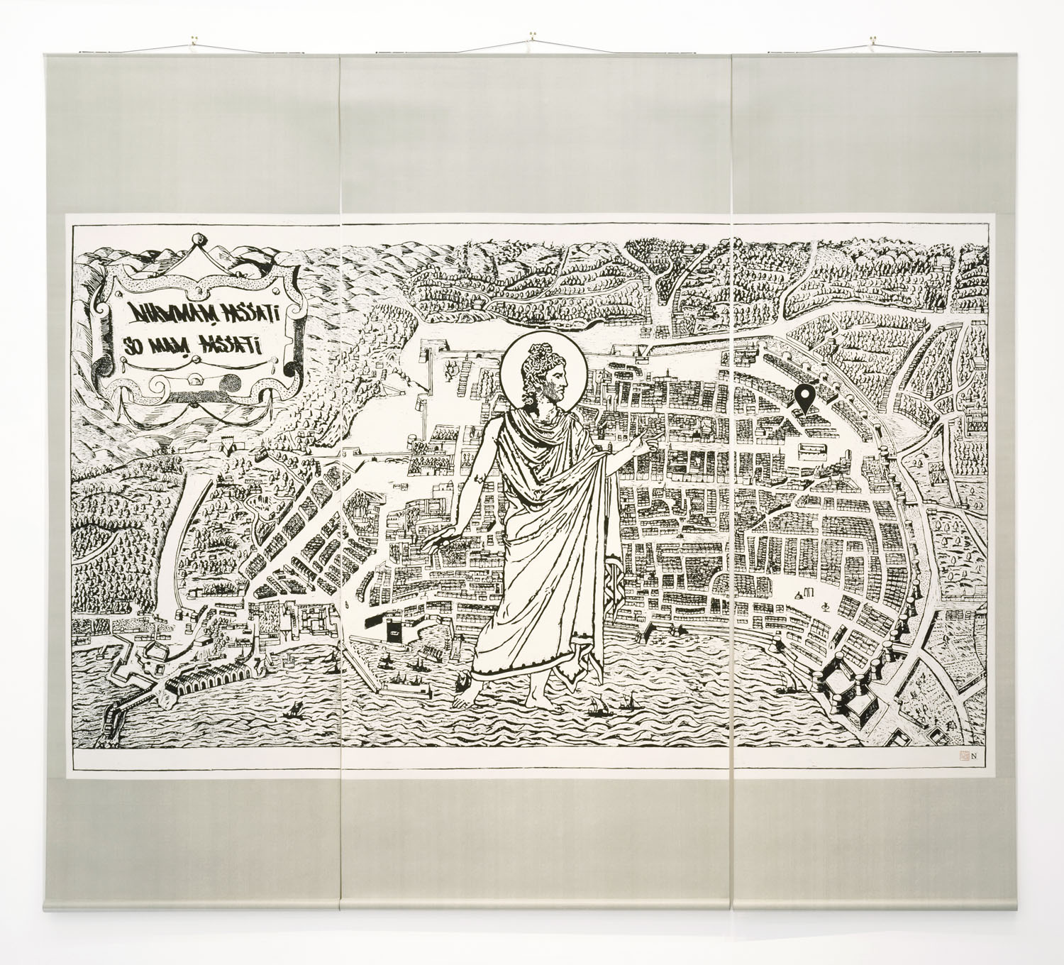 Natee Utarit2019Wood block print on rice paper mounted on scroll172.5 x 84 cm, 172.5 x 123 cm and 172.5 x 80 cm8 Edition, 3 AP and 1 Edition Cloister