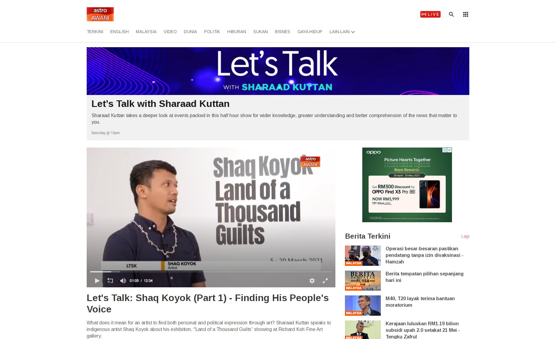 ASTRO AWANI – Let's Talk: Shaq Koyok (Part 1) – Finding His People's Voice
