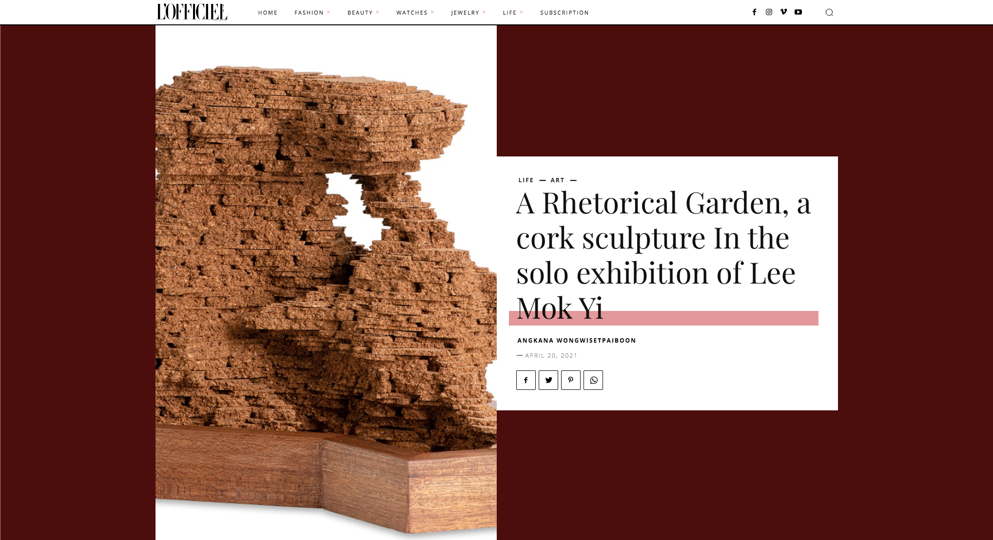 L'Officiel – A Rhetorical Garden, a cork sculpture In the solo exhibition of Lee Mok Yi