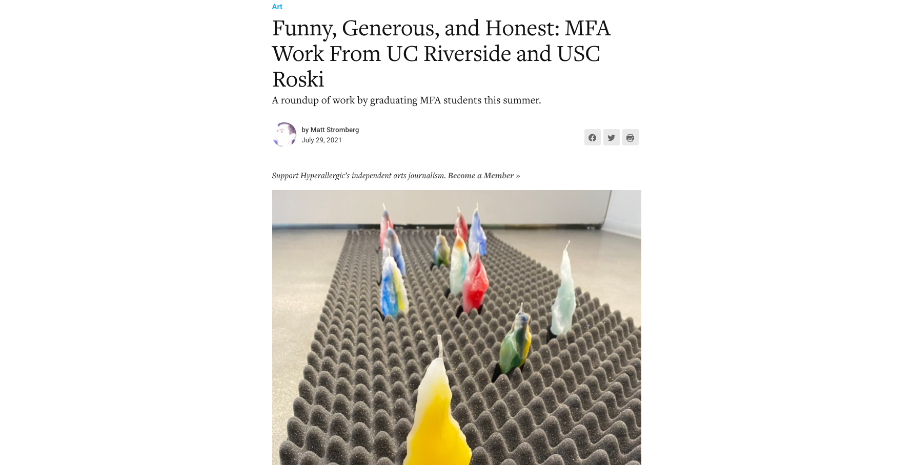 Hyperallergic – Funny, Generous, and Honest: MFA Work From UC Riverside and USC Roski