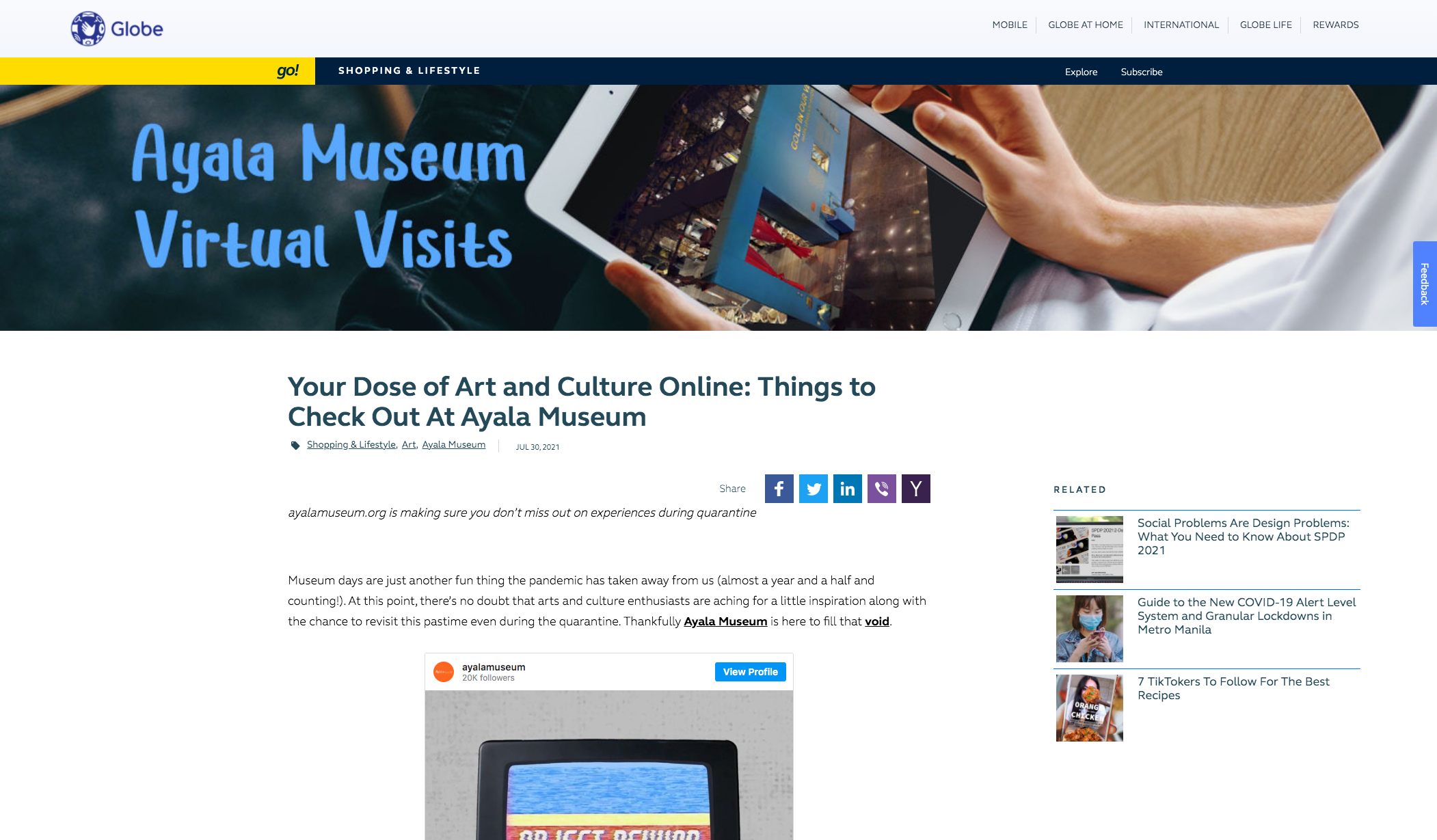 Globe – Your Dose of Art and Culture Online: Things to Check Out At Ayala Museum